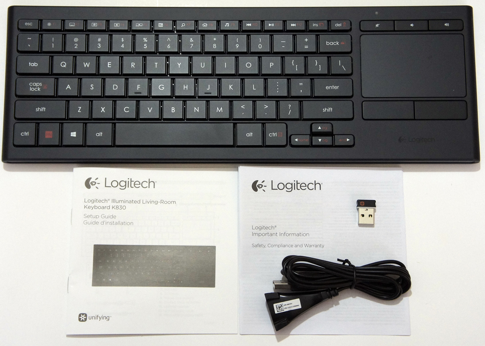 Review Logitech K830 Illuminated Living Room Wireless Keyboard